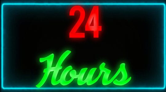 wait 24 hours neon sign