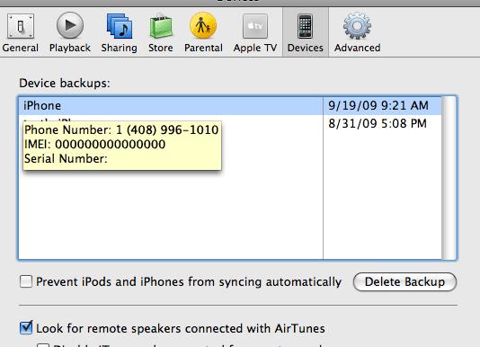 iTunes delete backup