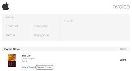 Screenshot of an iTunes Store invoice highlighting the Report a Problem button