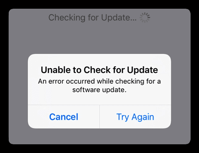 Software Update Problem: Unable to check for update  An error