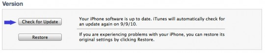 iTunes check for update
