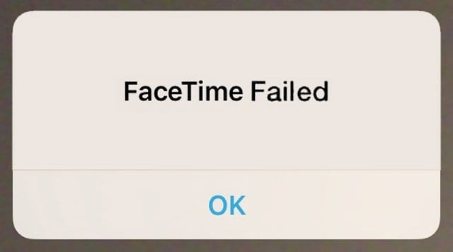 FaceTime Call Failed