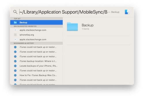 Spotlight search for iTunes corrupt backup folder.
