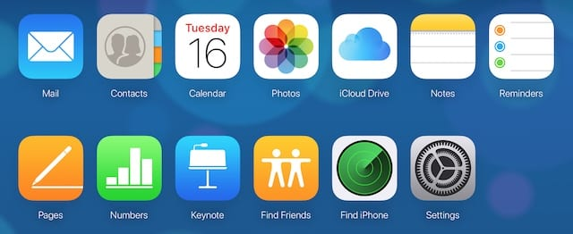 iCloud home page.