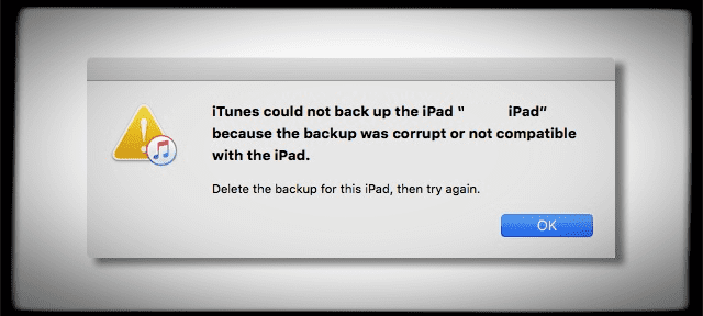 iPhone could not backup because backup file was corrupt or not compatible, fix