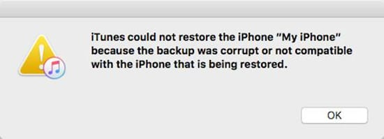iTunes could not restore the iPhone because the backup was corrupt or not compatible.
