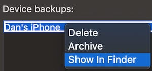 iTunes Device backups Show in Finder option.