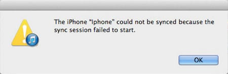 The iPhone could not be synced because the sync session failed to start.