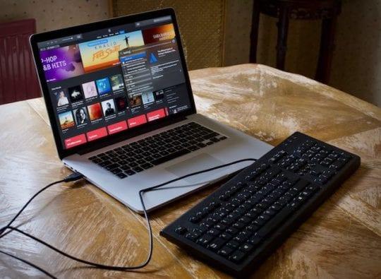 USB keyboard plugged into MacBook Pro.