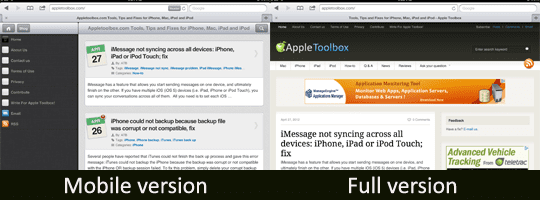 full and mobile version of appletoolbox.com