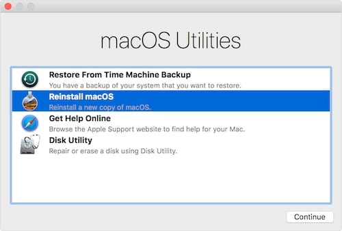 macOS recovery mode utilities menu.