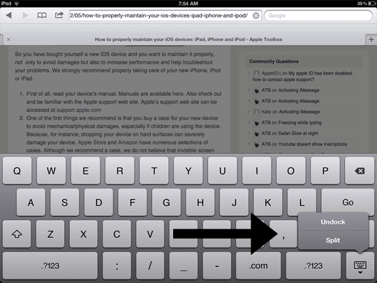 Split the iPad's Keyboard