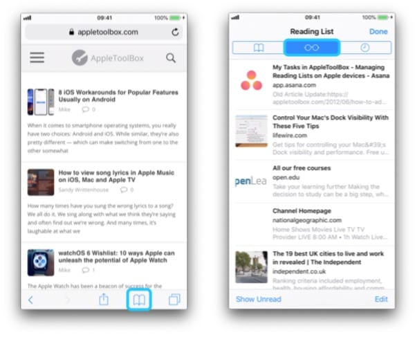 Two screenshots of an iPhone navigating to the Reading List