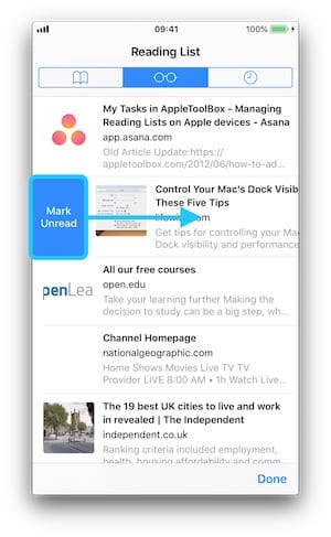 Screenshot of iOS Reading List highlighting Mark Unread