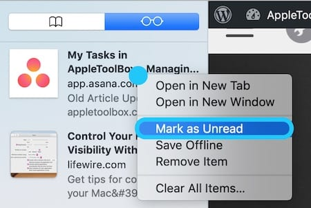 Screenshot of macOS Reading List highlighting Mark Unread