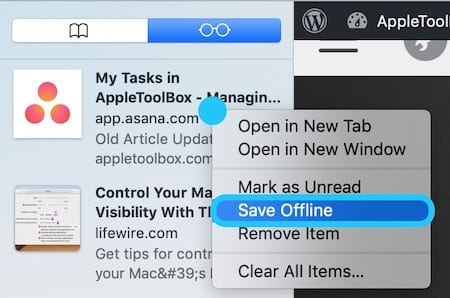 Screenshot of macOS Reading List highlighting Save Offline Button