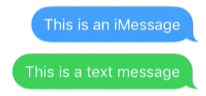 Blue iMessage above a green text message.