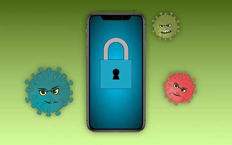 iPhone surrounded by cartoon computer viruses.
