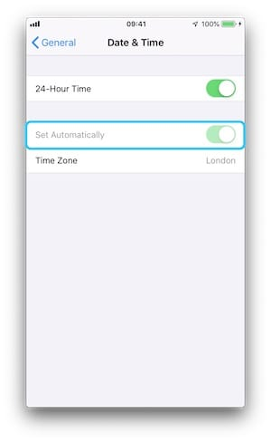 Screenshot of the Date & Times iOS 12 Settings Page