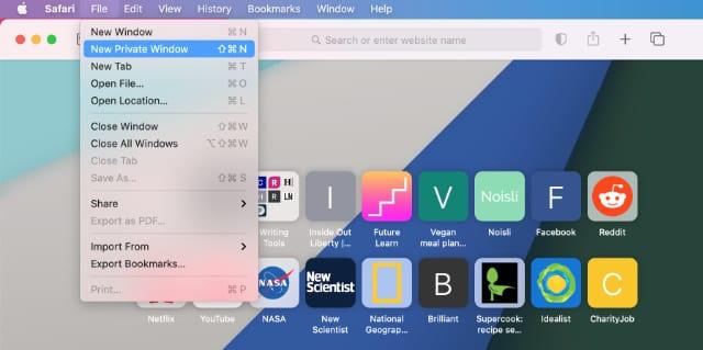New Private Window menu in Safari on Mac
