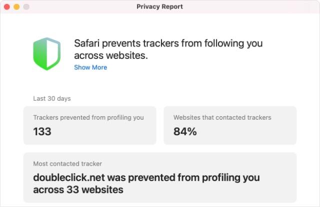 Privacy Report from Safari in macOS Big Sur