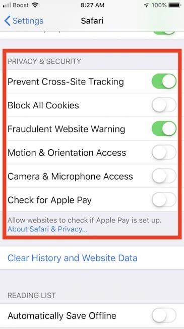 iOS 12 Safari Privacy Settings on iPhone