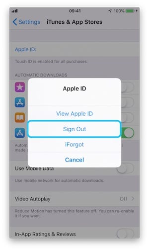 Screenshot of the Sign Out option from the iPhone App Store Settings