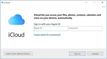 Screenshot of the login page from iCloud for Windows