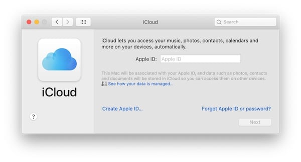 Screenshot of the iCloud login page on macOS