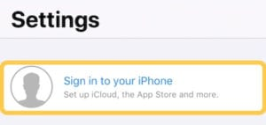 Screenshot of the sign in button from iOS settings
