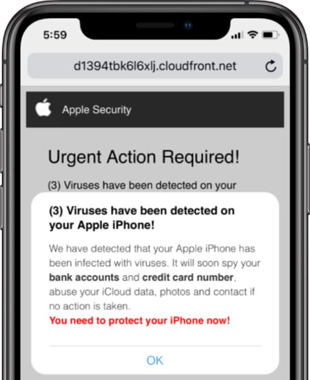 Fake 'virus' alert in a Safari pop-up designed to look like a message from Apple.
