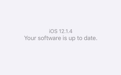 Screenshot showing that the iOS 12.1.4 software is up to date