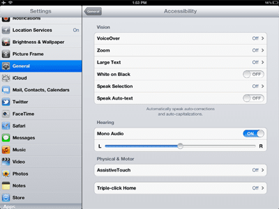 iPad, iPhone and iPod accessibility