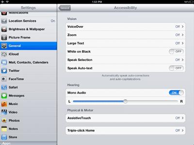 iPad, iPhone and iPod accessibility