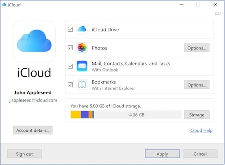 Screenshot of iCloud for Windows