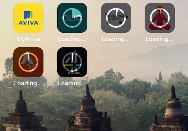 Screenshot of iPhone showing multiple apps waiting to install