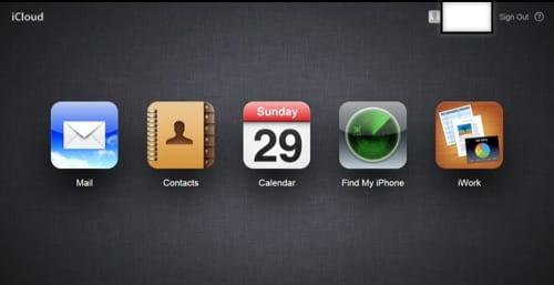 iCloud menu
