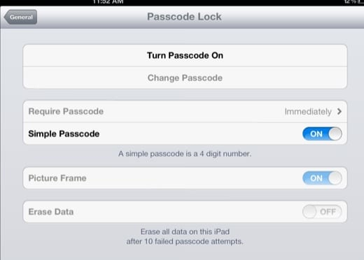 passcode lock settings