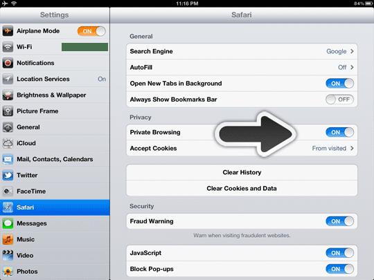 iOS safari private browsing