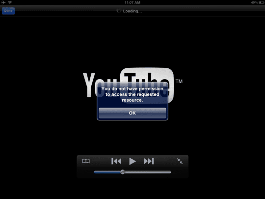 iPad, iPod, iPhone youtibe error: you do not have permission...