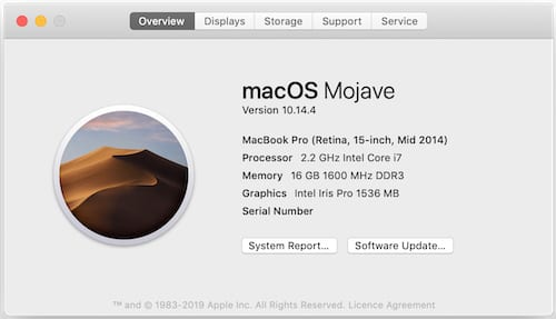 About This Mac information.