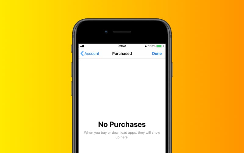 App Store displays No Purchases