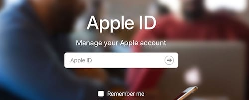 Screenshot of the Apple ID sign in page