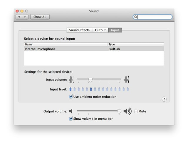 ambient noise reduction on older Macs and MacBooks with Mac OS X