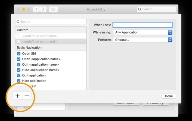 create voice control command on Mac with macOS
