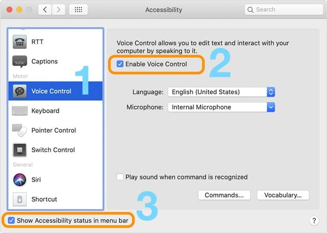 Voice control settings on mac with macOS Catalina