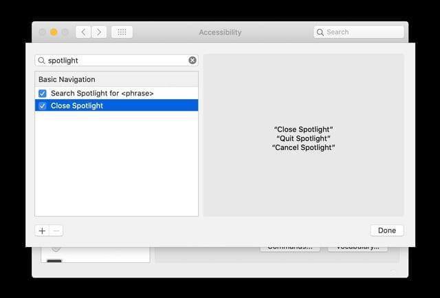 Find Macs voice control commands