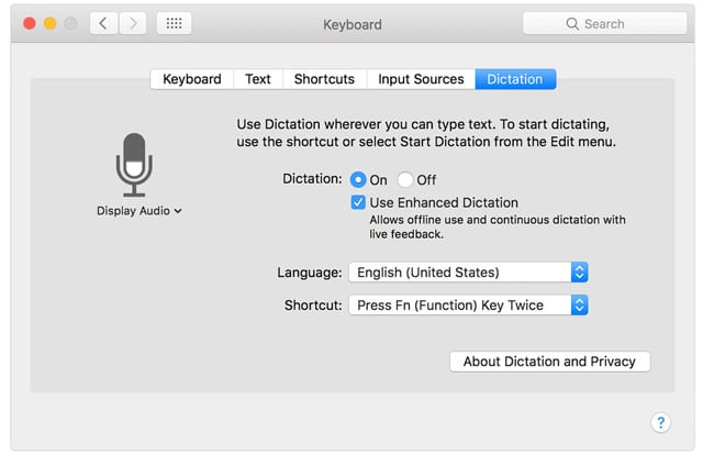 dictation on Mac and MacBook