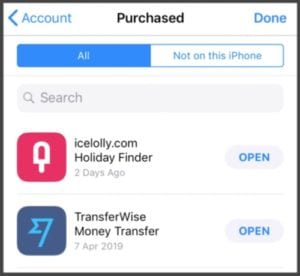 App Store displays 'No Purchases' for previous purchases