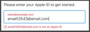 Your email address is not an Apple ID message.